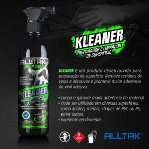 A imagem mostra o produto Kleaner de embalagem verde