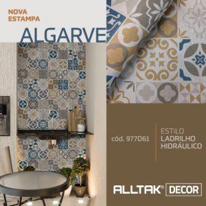 A imagem mostra a estampa nova da alltak, que é no estilo europeu em tons azuis e dourado.