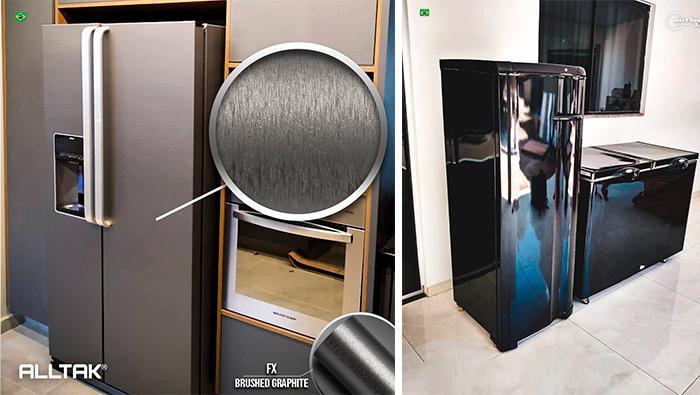A imagem mostra uma geladeira prata do lado esquerdo e uma geladeira preta do lado direito.